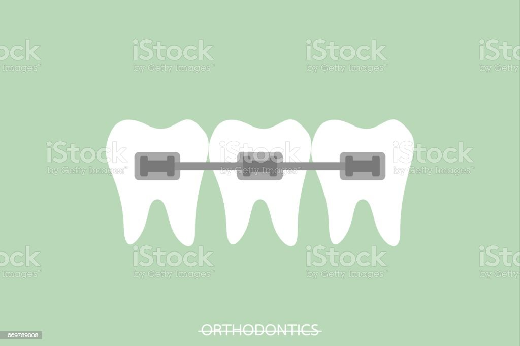 orthodontics teeth or dental braces vector art illustration