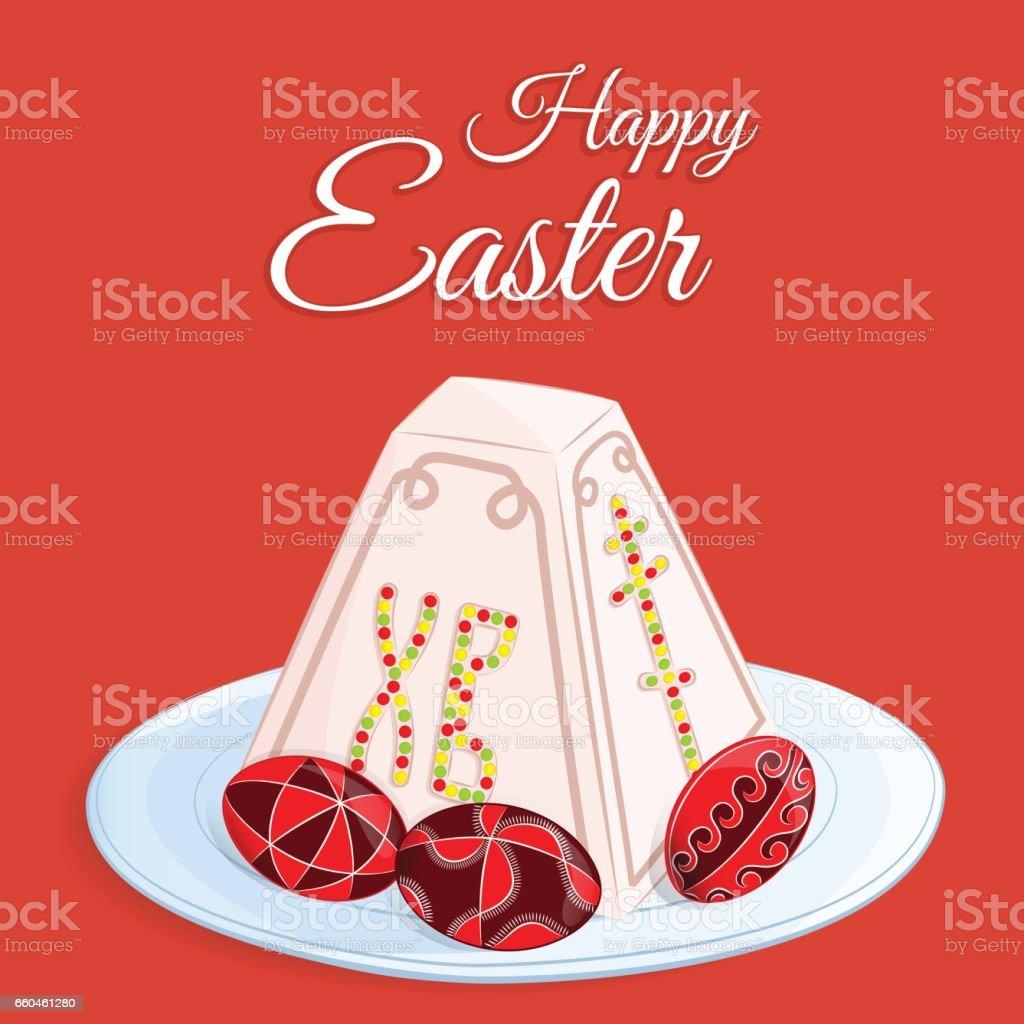 Orthodox Easter Festive Greeting Card Vector Cartoon Illustration Of
