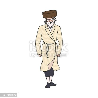 Orthodox Jew elderly man cartoon character in traditional clothes, vector illustration isolated on white background. Senior rabbi in headdress icon or image.
