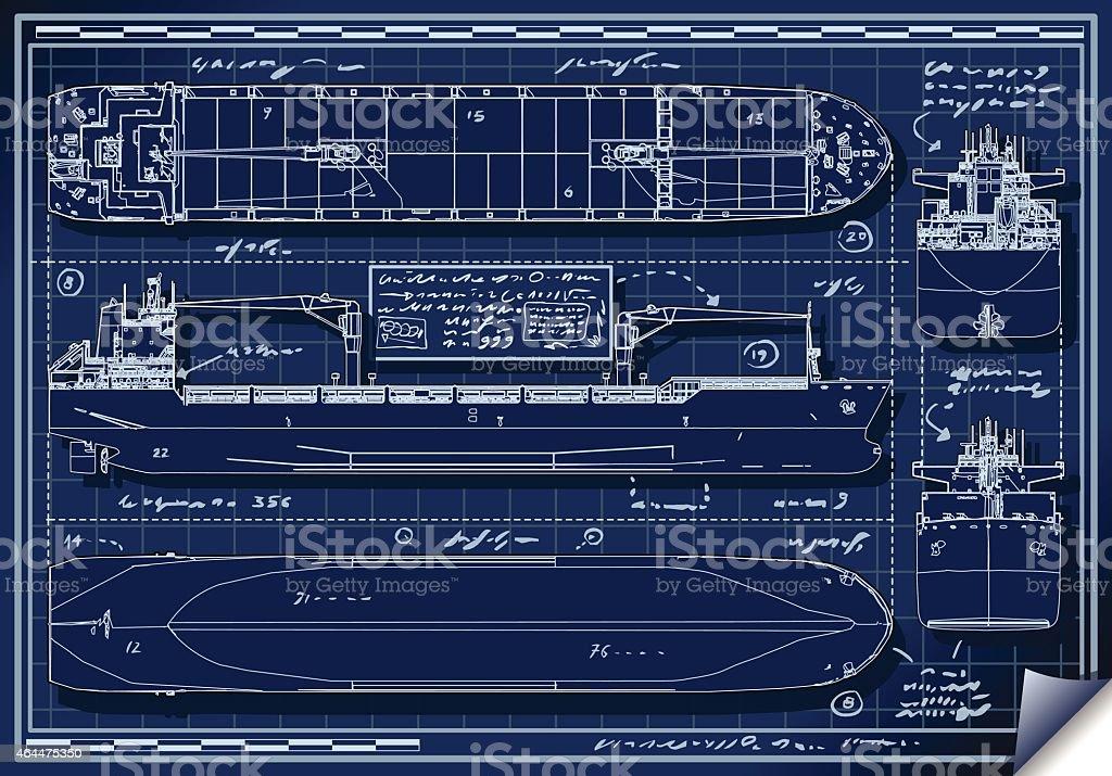 Orthogonal Blue Print of a Cargo Ship vector art illustration
