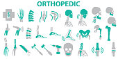 Orthopedic and spine symbol Set - vector illustration eps 10 , mono vector symbols
