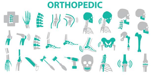 Orthopedic and spine symbol Set - vector illustration eps 10 , mono vector symbols Orthopedic and spine symbol Set - vector illustration eps 10 , mono vector symbols backache stock illustrations