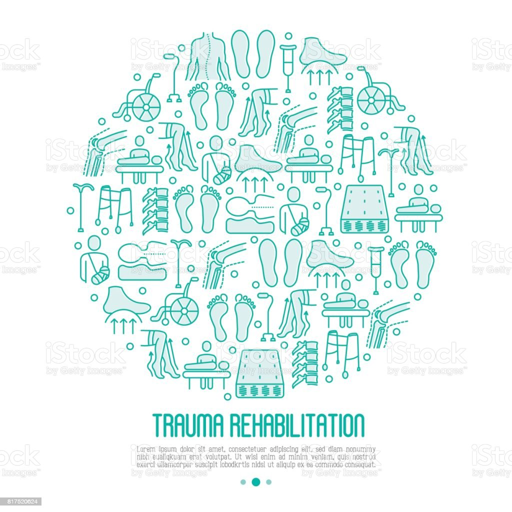 Orthopedic and trauma rehabilitation concept with thin line icons for web page or banner of clinics and medical centers. Vector illustration. vector art illustration