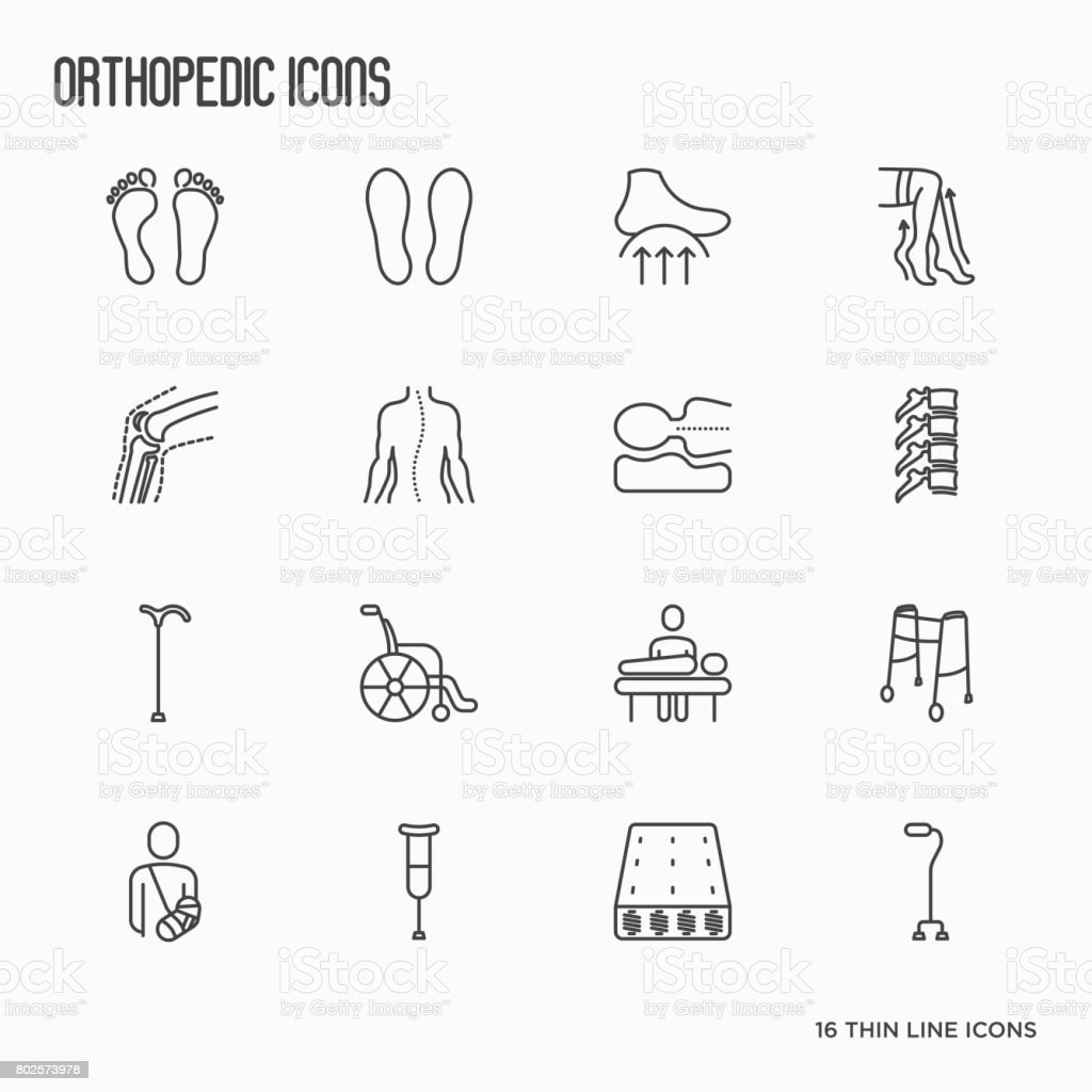Orthopedic and trauma rehabilitation thin line icons for banners in clinics and medical centers. Vector illustration. vector art illustration