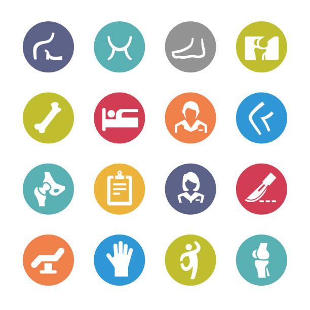 ilustrações, clipart, desenhos animados e ícones de ortopédico ícones-circle série - ortopedia