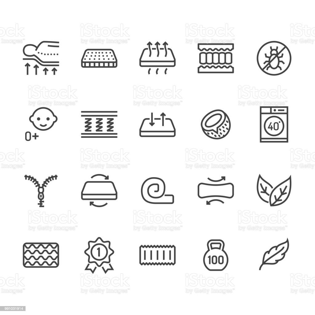 Orthopedic mattress flat line icons. Mattresses properties - anti dust mite, spine support, washable cover, breathable, memory foam, bedding illustrations. Pixel perfect 48x48. Editable Strokes vector art illustration