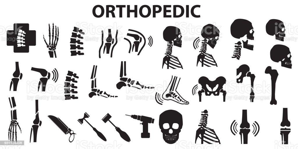 Orthopedic spinal joint bone human medical health care  flat icons. mono vector symbol