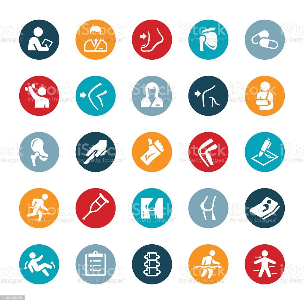 Orthopedic surgery and Medicine Icons vector art illustration