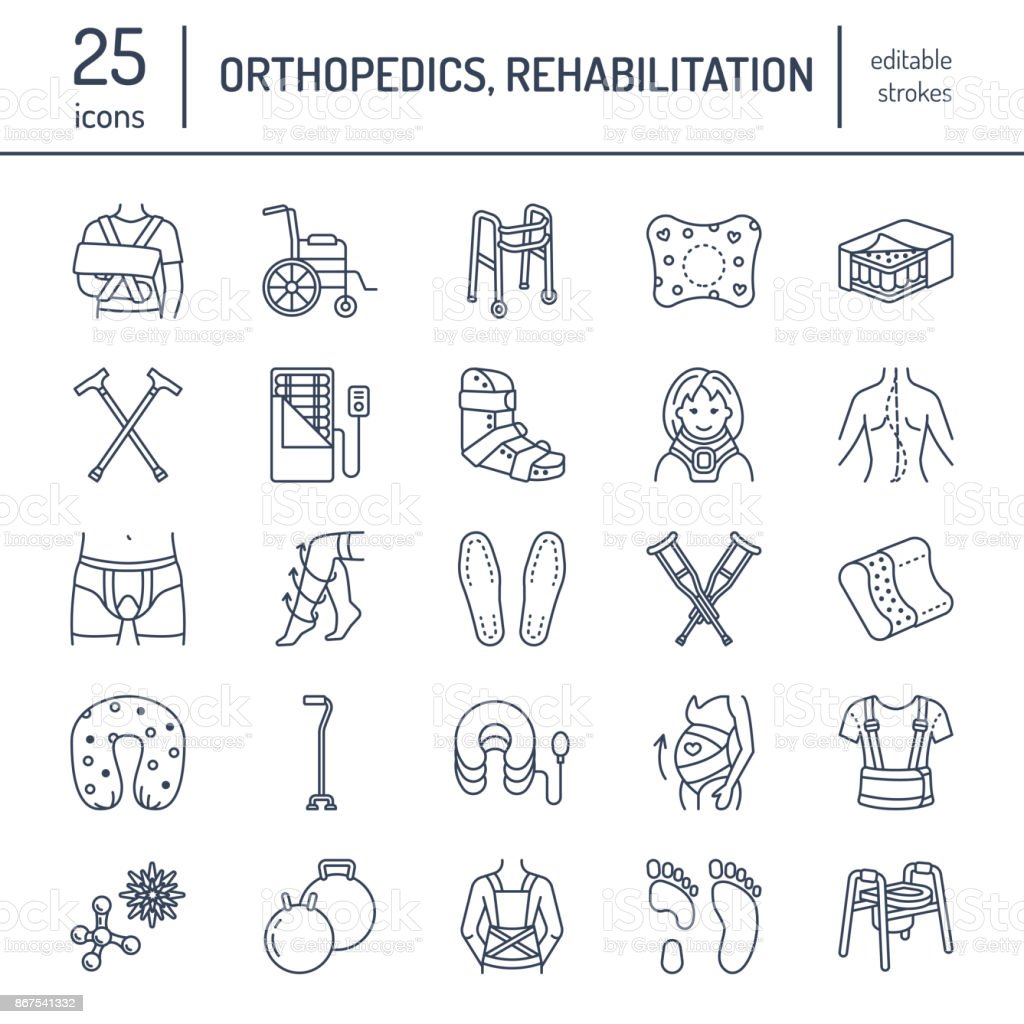 Orthopedic, trauma rehabilitation line icons. Crutches, orthopedics mattress pillow, cervical collar, walkers and other medical rehab goods. Health care thin linear signs for clinic and hospital vector art illustration