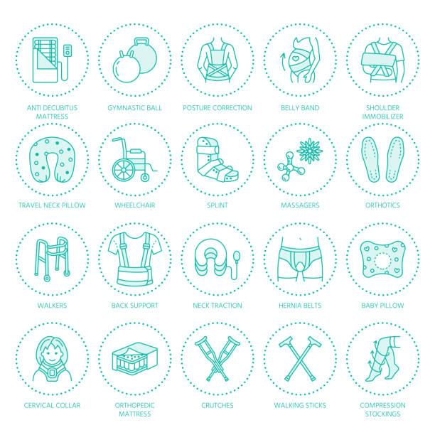 ilustrações, clipart, desenhos animados e ícones de ícones de linha de reabilitação de trauma ortopédico. muletas, almofada de colchão de ortopedia, colar cervical, caminhantes e outros bens de reabilitação médica. cuidados de saúde sinais lineares finas para a clínica e hospital - ortopedia
