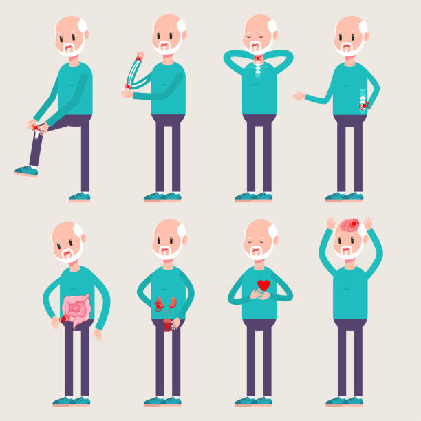 orthopedics and injuries of the elderly people. vector cartoon old man character set with diseases and traumas of internal organs and bones isolated on background. - physical therapy stock illustrations