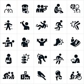 An icon set of orthopedic themes. The icons include doctors, medication, rehabilitation, sports training, knee pain, back pain, shoulder pain, x-ray, sports, injury, recovery, broken arm, foot pain, surgery, hospital, joints and other related themes.