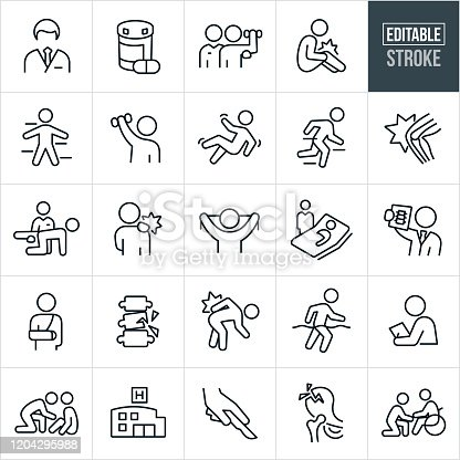 A set of orthopedics and rehabilitation icons that include editable strokes or outlines using the EPS vector file. The icons include an orthopedist, prescription medicine, rehabilitation, physical therapist, injured person with hurt knee, person falling, the human body, human knee, human hip, back pain, patient in hospital bed, doctor viewing x-ray, person with broken arm, fractured bones, person with hurt shoulder, medical check-up, hospital, surgery, fractured hip and a person in a wheelchair to name a few.