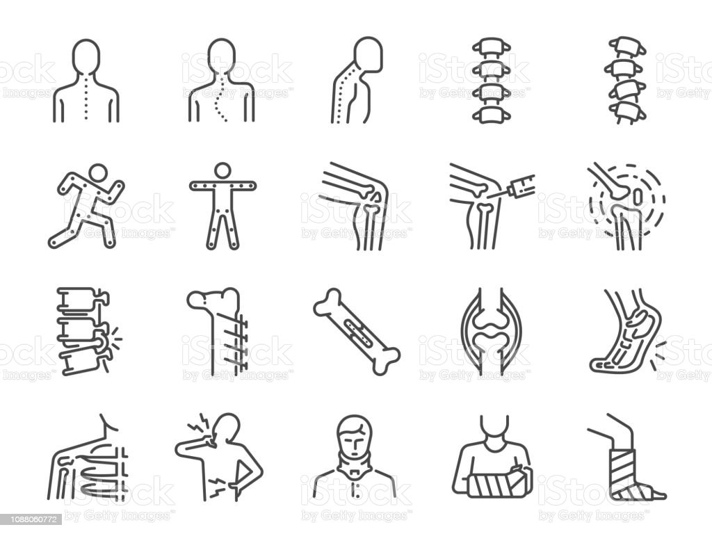 Orthopedics line icon set. Included the icons as osteoarthritis, medical rehab, plantar fasciitis, back injuries, Fracture and more. Orthopedics line icon set. Included the icons as osteoarthritis, medical rehab, plantar fasciitis, back injuries, Fracture and more. Analyzing stock vector