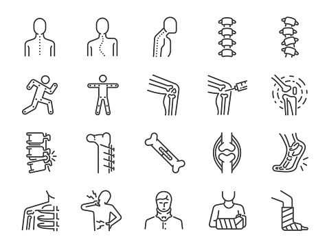 Orthopedics Line Icon Set Included The Icons As Osteoarthritis Medical Rehab Plantar Fasciitis Back Injuries Fracture And More Stock Illustration - Download Image Now