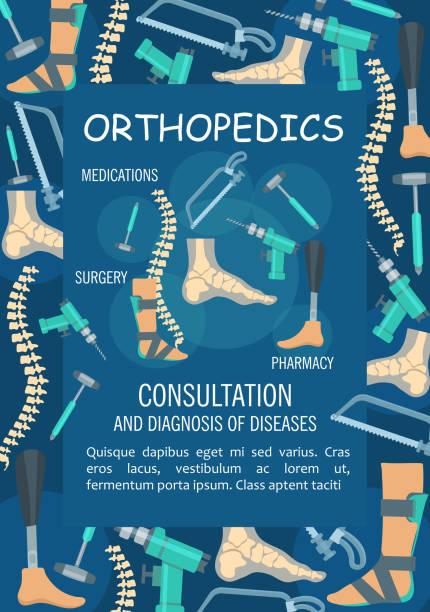 ilustrações, clipart, desenhos animados e ícones de banner médica de ortopedia com osso e articulação - ortopedia