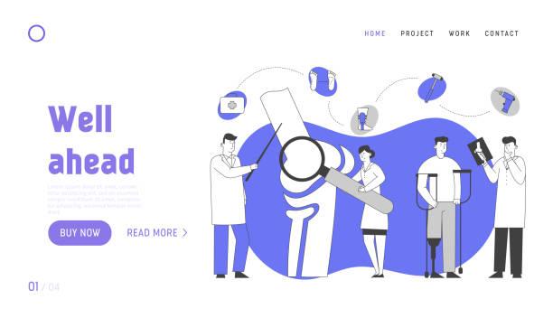 骨科醫療協調,醫療保健網站登陸頁面。醫生創傷學家看x射線討論病人治療與同事網頁橫幅。卡通平面向量插圖,線條藝術 - 健康科技 幅插畫檔、美工圖案、卡通及圖標