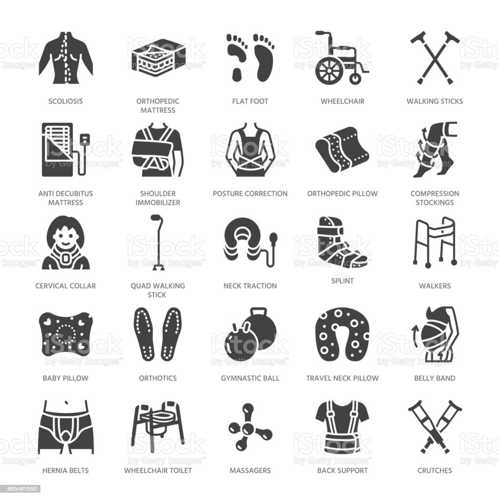 Orthopedics, trauma rehabilitation glyph icons. Crutches, mattress pillow, cervical collar, walkers, medical rehab goods. Health care signs for clinic, hospital. Solid silhouette pixel perfect 64x64 vector art illustration