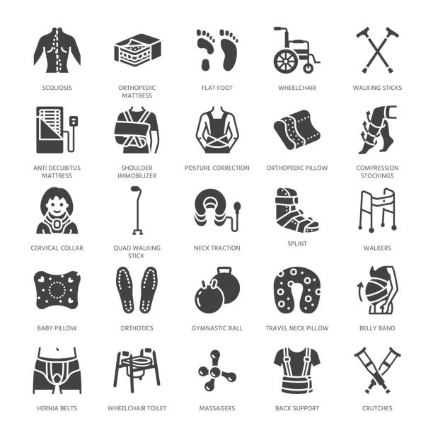 orthopedics, trauma rehabilitation glyph icons. crutches, mattress pillow, cervical collar, walkers, medical rehab goods. health care signs for clinic, hospital. solid silhouette pixel perfect 64x64 - wheelchair sports stock illustrations, clip art, cartoons, & icons