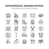 Orthopedics, trauma rehabilitation line icons. Crutches, mattress pillow, cervical collar, walkers, medical rehab goods. Health care thin linear signs for clinic and hospital. Pixel perfect 64x64