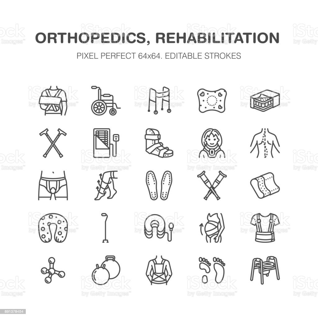 Orthopedics, trauma rehabilitation line icons. Crutches, mattress pillow, cervical collar, walkers, medical rehab goods. Health care thin linear signs for clinic and hospital. Pixel perfect 64x64 vector art illustration