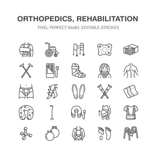 ilustrações, clipart, desenhos animados e ícones de ortopedia, reabilitação de traumas linha de ícones. muletas, almofada de colchão, colar cervical, caminhantes, mercadorias de reabilitação médica. cuidados de saúde sinais lineares finas para clínica e hospital. pixel perfect 64x64 - ortopedia