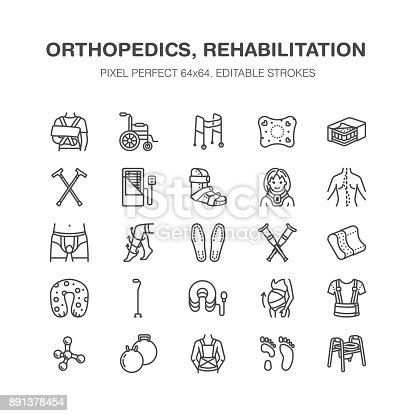 Orthopedics Trauma Rehabilitation Line Icons Crutches