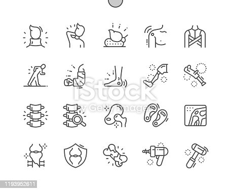 istock Orthopedics Well-crafted Pixel Perfect Vector Thin Line Icons 30 2x Grid for Web Graphics and Apps. Simple Minimal Pictogram 1193952611