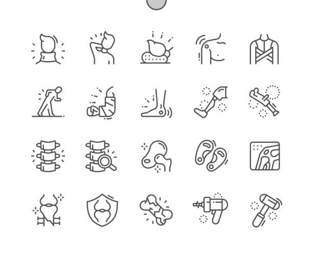 ilustrações, clipart, desenhos animados e ícones de ortopedia bem trabalhada pixel perfect vector thin line ícones 30 2x grid para web graphics e apps. pictograma mínimo simples - ortopedia