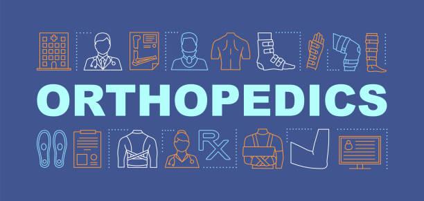 ilustrações, clipart, desenhos animados e ícones de bandeira dos conceitos da palavra da ortopedia - ortopedia