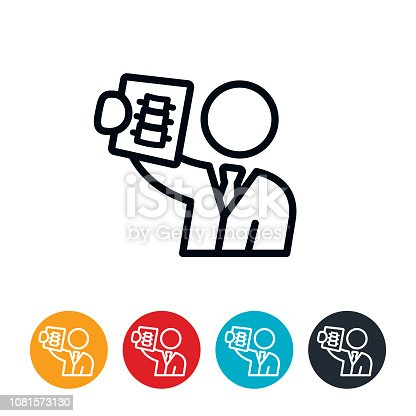 An icon of an orthopedist reviewing a spine on X-ray. The icons have editable strokes.