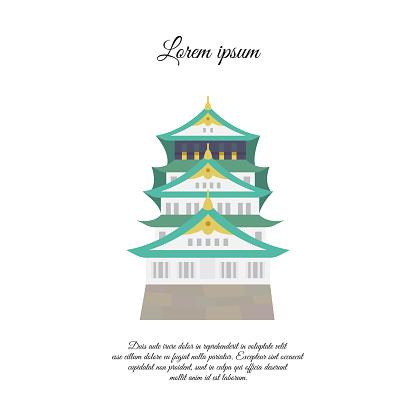 Osaka castle vector. Asian building or castle icon. Japan castle. color symbol on white background