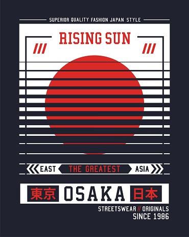 Osaka city typescript for t shirt print. Vector illustration