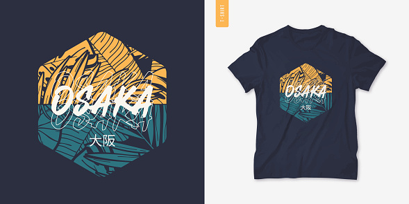 Osaka Japan summer graphic t-shirt design, tropical print, vector illustration