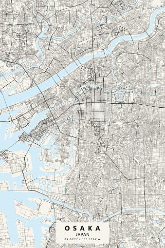 Osaka, Japan Vector Map