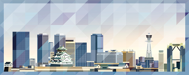 Osaka skyline vector colorful poster on beautiful triangular texture background
