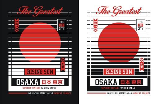 Osaka slogan for t shirt. Vector illustrations