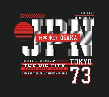 Osaka, stylish design, t-shirt and apparel, vector