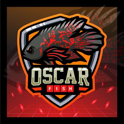 Oscar fish mascot. sport emblem design