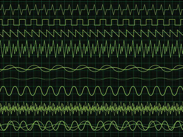 oscilloscope waves - sine wave stock illustrations