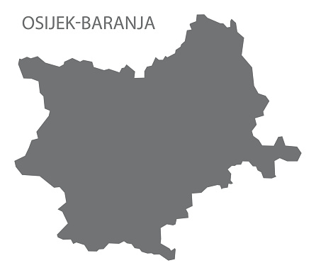 Osijek-Baranja Croatia county map grey illustration silhouette shape