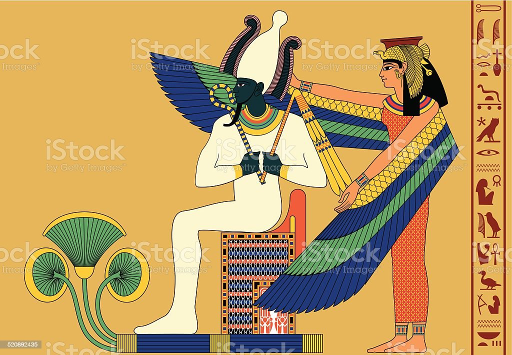 Osiris and Isis vector art illustration