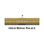 Oslo Norway famous architecture vector sketch separated on white background. The world famous landmark in Oslo, the capital of Norway. Cityscape flat style for travel design.