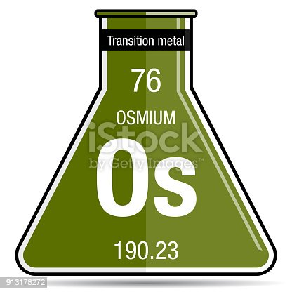 Osmium Symbol On Chemical Flask Element Number 76 Of The Periodic