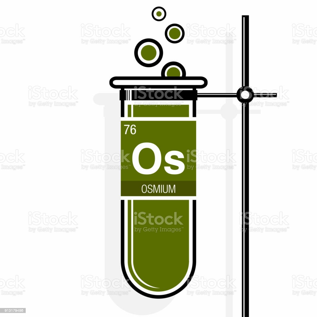 Osmium symbol on label in a green test tube with holder element osmium symbol on label in a green test tube with holder element number 76 of urtaz Gallery