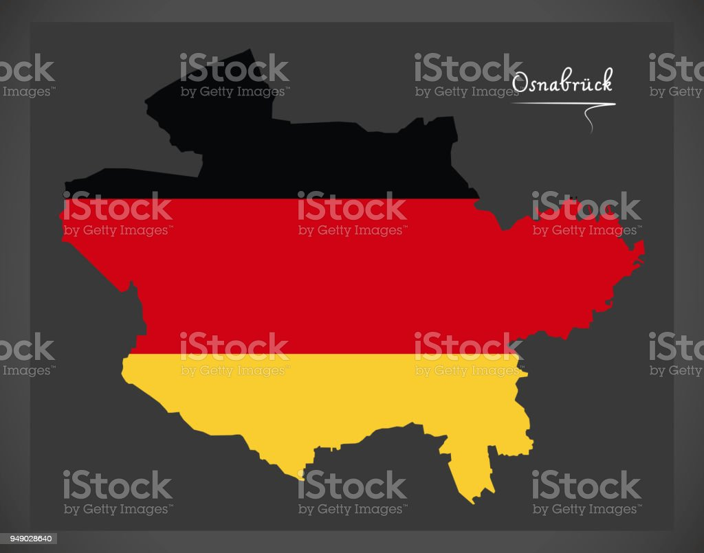 Osnabrück map with German national flag illustration vector art illustration