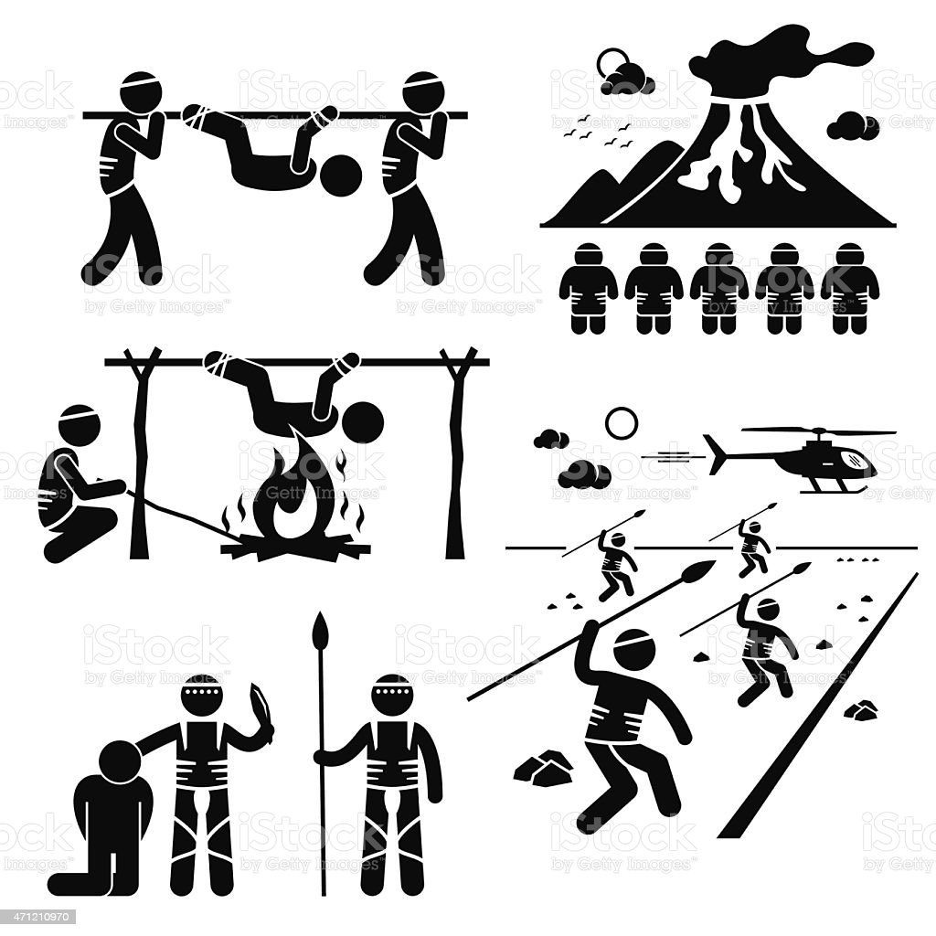 ost Civilization Cannibal Man Eating Tribe Stick Figure Pictogram Icons vector art illustration