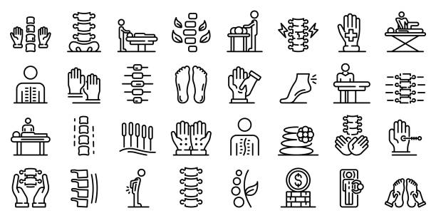 Osteopathy icons set, outline style Osteopathy icons set. Outline set of osteopathy vector icons for web design isolated on white background osteopathy stock illustrations