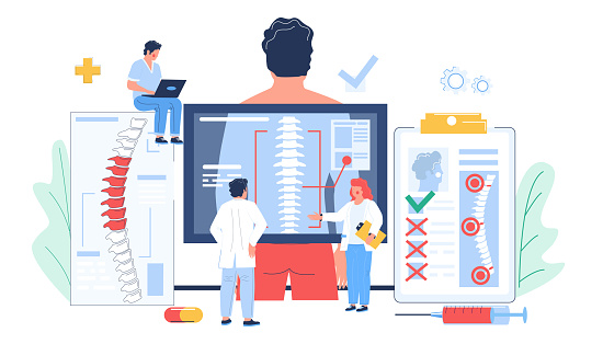 Osteopathy session and treatment. Tiny doctor characters examining scan of patient spine, flat vector illustration. Man having bone desease. Osteopathic medicine.