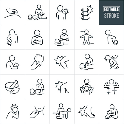 Osteopathy Thin Line Icons - Editable Stroke